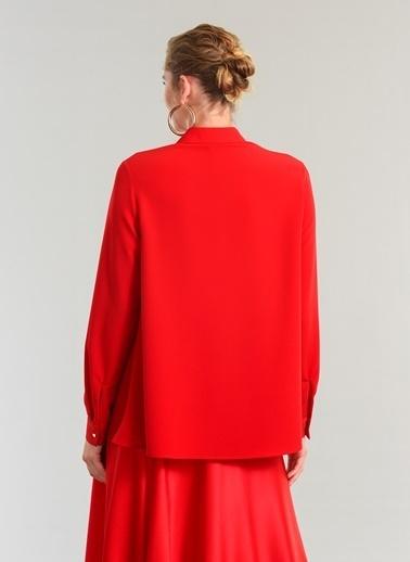 People By Fabrika Ajur Detaylı Gömlek Kırmızı